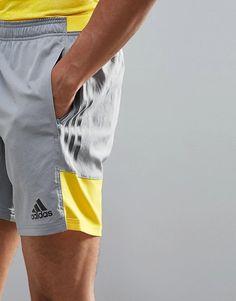 adidas Training Woven Shorts In Grey at ASOS. Mens Swim Shorts, Grey Shorts, Adidas Men, Nike Men, Boxer Pants, Mens Designer Shirts, Sports Brands, Man Swimming, Sport Shorts