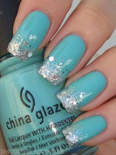 Turquoise Glitter Nails ❤