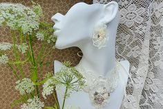 White-cream vintage inspired textile jewelry-lace necklace