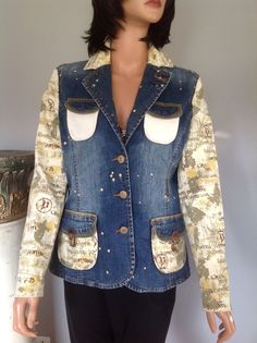 Pepe 73 Jacket Jeans Denim Cotton M Designer Fashion Hip Chic Two Tone  | eBay
