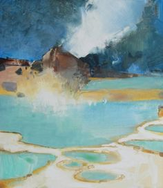 Fumarole-geothermal+landscape,+painting+by+artist+Randall+David+Tipton