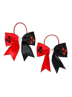 <p>Set of two Harley Quinn themed elastic tie hair bows with faceted plastic gem detailing.</p><ul><li>Imported</li></ul>