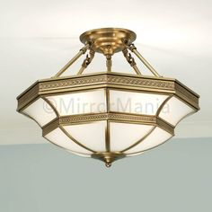 Close To Ceiling Lights Magnificent Balfour Frosted Glass Art Deco Semi Flush 4 Light In Brass Inspiration Design