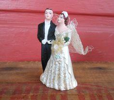 1950 vintage wedding cake topper bride and by vintagethisretrothat