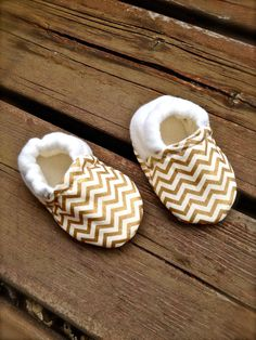 Gold and White Shimmery Chevron Baby Shoes with by WithinThePines
