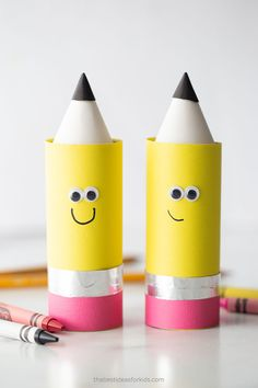 Toilet Paper Roll Pencil Craft Back To School Crafts For Kids, Easy Crafts For Kids, Toddler Crafts, Crafts To Make, Art For Kids, Arts And Crafts, Tin Foil Crafts, Pencil Crafts, Recycled Crafts Kids