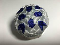 Dekorácie - vianočné patchworkové gule modro-strieborné s bielym lurexom - 7147181_
