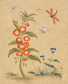 신사임당 (초충도_봉선화와 잠자리) Botanical Wallpaper, Vintage Botanical Prints, Sculpture Art, Flower Art, Art For Kids, Folk Art, Print Patterns, Illustration Art, Embroidery