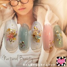 Sparkle Nails, Fancy Nails, Love Nails, Korea Nail Art, Kawaii Nails, Strong Nails, Japanese Nails, Pretty Nail Art, Shellac Nails