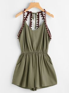 Sleeveless Jumpsuits. Jumpsuits Decorated with Knot, Pocket, Backless, Pom Pom. Designed with Straps. Regular fit. Plain design. Trend of Summer-2018. Designed in Army Green. Fabric has no stretch. ##casual#womenoutfits#dresses#borntowear