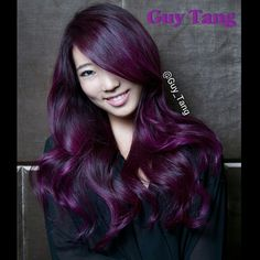 Deep amethyst color with dimensional gemstone reflects. I love creating this color on my client. Video coming soon #guytang #guytanghair #violethair  Hair and photography by @guy_tang  Model @kkarmalove