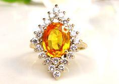 Vintage Orange Sapphire & Diamond Halo Engagement Ring 0.66ctw Diamond Wedding Ring 14K Gold Alternative Sapphire Engagement Ring Size 6 by LadyRoseVintageJewel on Etsy https://www.etsy.com/listing/483749663/vintage-orange-sapphire-diamond-halo