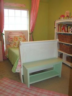 easy storage bench, possible for end of Corra's bed might use for bedside table too