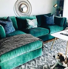 *Green fabric for living room upholstery* Justina Blakeney Mor Sofa Living Room Green, Living Room Sofa, Living Room Decor, Living Spaces, Home And Deco, Dream Decor, Living Room Inspiration, Living Room Designs, Family Room