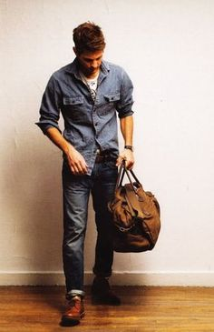 double denim, light blue denim shirt jeans / men fashion