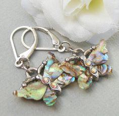Abelone Shell Silver Butterfly Earrings by Kikiburravictoriana, $14.00