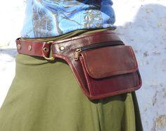 Utility Belt Leather Belt Bag Hip Bag Pocket Belt in Chestnut Brown-HB11I on Etsy, $93.00