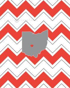 Ohio Home State Printable  Ohio Chevron Heart by GuidingPrintables, $5.00