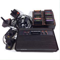"""80s Atari 2600 """"Darth Vader"""" Console VCS 16 GAMES Power Joysticks Paddles Tested #Atari"""