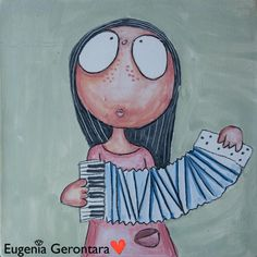Miss Art and her accordion :) My paintings currently aren't available for online pruchases, but if you want to see more of my creations on ceramic pottery visit my website, eugeniagerontara.com Try Not To Smile, Love Painting, Cute Crafts, Various Artists, Felt Animals, Ceramic Pottery, Diy Tutorial, Arts And Crafts, Ceramics