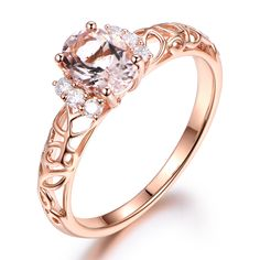 5x7mm Oval Cut Morganite and Diamond Engagement Ring 14k Rose gold Filigree Floral