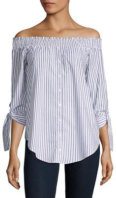 Saks Fifth Avenue Striped Off-The-Shoulder Blouse, Curvy Women Fashion, Womens Fashion, Shirt Refashion, Blouse Styles, Saks Fifth Avenue, Summer Outfits, Make Your Own Clothes, Tops, How To Wear