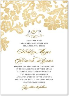 A delicate lace overlay edges this classic wedding invitation design. With metallic inspired embellishments, this traditional wedding invitation template is perfect for a classic, traditional bride.