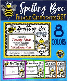 This is a set of Spelling Bee awards to be presented to participants of the Spelling Bee at your school.  Your download includes 16 certificates in two different versions. One version includes a space for you to type the students names, placement in the Bee, and name of school.The other version is a participatory award to be presented to each student in the Bee.