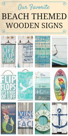 Check out our favorite beach themed wooden signs at Beachfront Décor! These beach tropical nautical and coastal themed wooden plaques make great wall décor for your beach or lake home. Get shabby chic pallet art in a variety of themes like flip flops anchors starfish mermaids sand dollars quotes and more!