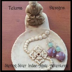 http://www.sellergroup.com/shop/TelumaDesigns  Indian Agate and Adventurine Drop earrings with Sterling Silver. Featuring a Coin shaped bead in a deep dusty pink color with a soft green Adventurin bead above. Matching Necklace. OOAK (Code 329E)
