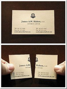 Funny pictures about A divorce lawyer's business card. Oh, and cool pics about A divorce lawyer's business card. Also, A divorce lawyer's business card photos. Lawyer Business Card, Business Card Maker, Unique Business Cards, Creative Business, Legal Business, Lawyer Logo, Lawyer Humor, Divorce Attorney, Divorce Lawyers