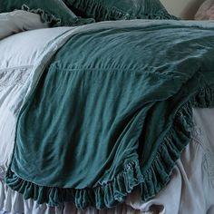 Rachel Ashwell Shabby Chic Couture Velvet Bed cover Teal