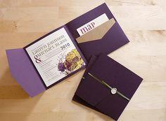 convite pocket com bolso interno para mapa do casamento