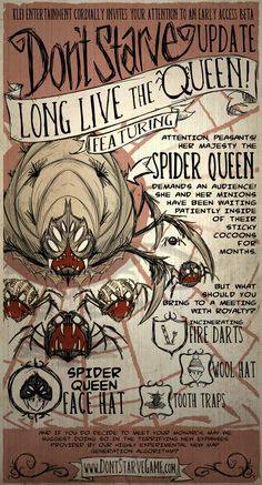 spider queen poster for Don't Starve Video Game Art, Video Games, Spider Queen, Queen Poster, Tim Burton Style, Fanart, Creepy Art, Indie Games, Entertainment