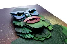 The Creature, 3D Paper Collage by Eelus