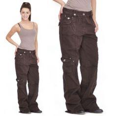 Ladies Womens Brown Baggy Loose Cargo Pants Wide Boyfriend Combat Trousers Jeans   eBay