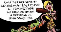"""A cartunista Pryscila faz piada com a confusão taxinômica criada pela presidente Dilma Rouseff ao exaltar as """"mulheres sapiens"""""""