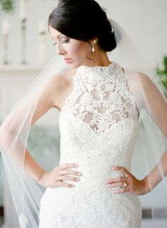 Photography : Brandi Smyth Read More on SMP: http://www.stylemepretty.com/little-black-book-blog/2015/12/10/indoor-bridal-session-sleeveless-lace-dress/