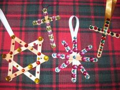 Popsicle sticks and bead gems
