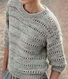 Knitting Patterns Pullover gray sun ه sweater sweater knit knit gray wool wool Sweater Knitting Patterns, Knitting Designs, Knit Patterns, Clothing Patterns, Knitting Stitches, Summer Knitting, Crochet Summer, Summer Sweaters, Knit Fashion
