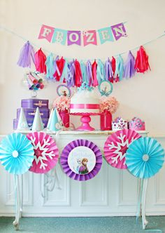 Frozen Birthday Party Set, Sparkle Birthday Birthday Set, Tassel Banner, Frozen Birthday in a box Elsa Anna Olaf Elsa Birthday Party, Disney Frozen Birthday, 4th Birthday Parties, 5th Birthday, Birthday Ideas, Frozen Disney, Frozen Decorations, Frozen Theme Party, Diy Party