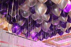 Purple & Silver Balloons over Dance Floor Purple & Silver Balloons on Ceiling with Shimmer Ribbon