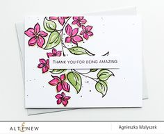 Handmade CAS card using lovely floral images from the Amazing You Stamp Set. The elements are stamped in black and colored using markers. www.altenew.com