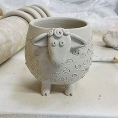 Sheep bowl/planter. #wheelthrown #pottery #bowl #planter #sheep #greenware #handmade #ceramics #mywork #Pathwaypottery