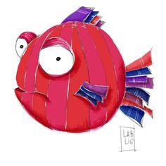 Io disegno e tu decidi dove stampare!  Pesce rosso illustrazione digitale! Da Lab Liù su Etsy shop! #pesce #pescerosso #illustrazioni #shopper #disegni #etsy #labliu