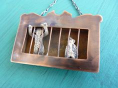 Monkey Menagerie Necklace- Circus Train Car- Copper and Sterling Silver $95