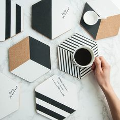 Cork Coasters Set Of Four, Cork Hexagons - Rocket and Fox Easy Home Decor, Diy Home Crafts, Diy Para A Casa, Room Deco, Do It Yourself Inspiration, Diy Coasters, Wooden Crafts, Diy Clay, Homemade Home Decor