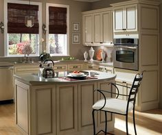Kitchen with light cabinets.