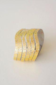 SALE  Genuine Leather Bracelet  Handmade  Silvery Gold by SORREISA, $20.00