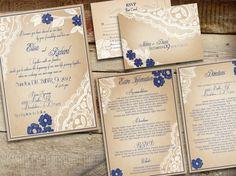 Printable VINTAGE WEDDING INVITATIONS Lace - Phoenix suite by Elisa H.